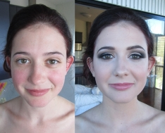 MUA: Magnifique Makeup Artistry. Before and after ball makeup on Emma.
